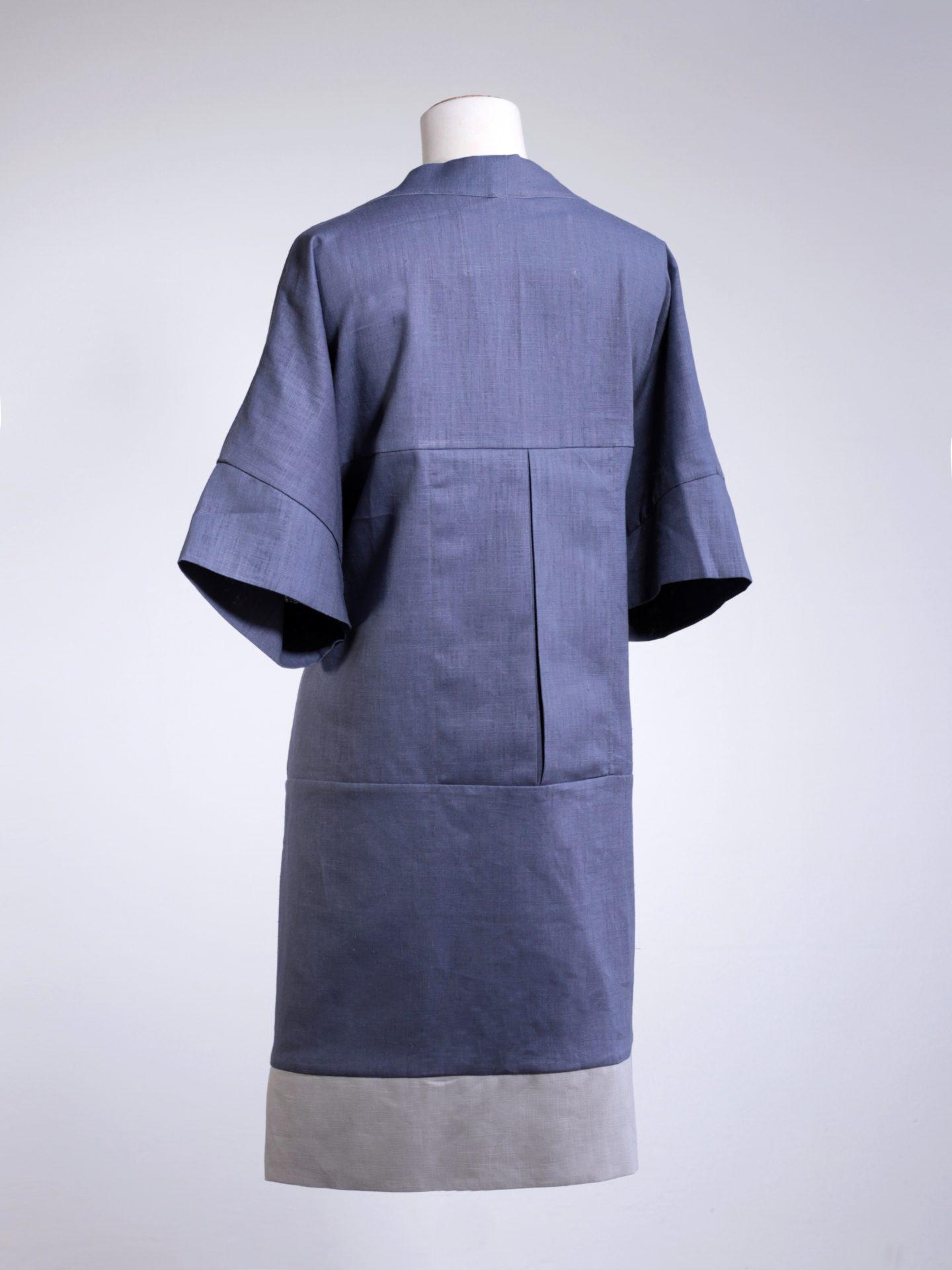 Linen Kimono - Navy/Grey