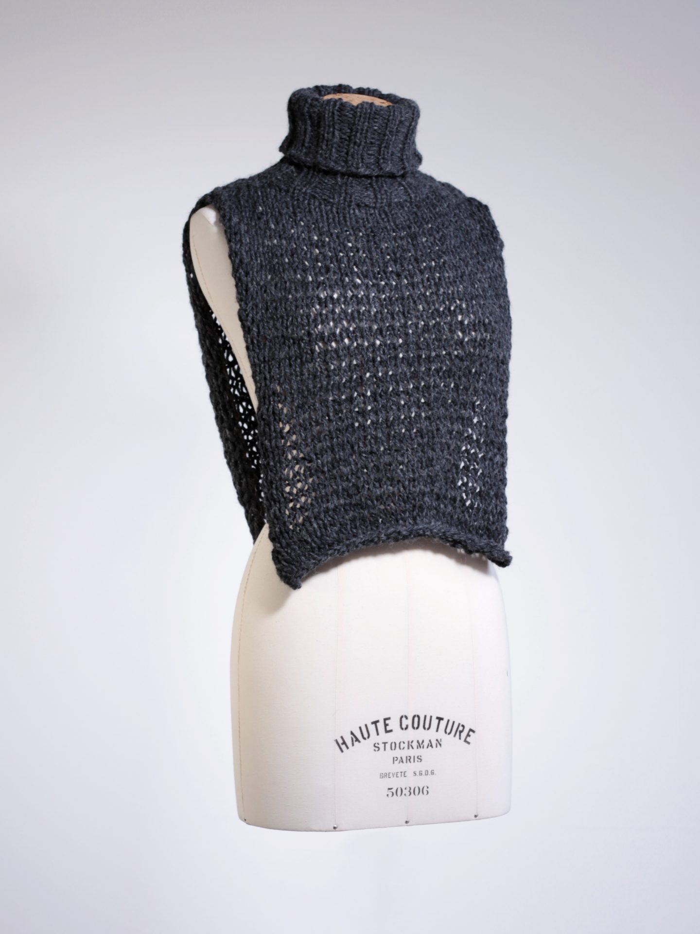 Knitted cowl neck crop top