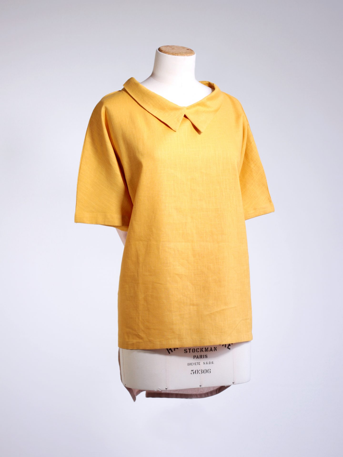 Linen shirt-collar tee - yellow